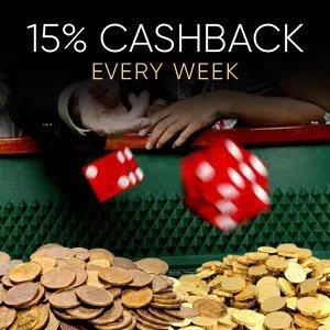 15% cashback EVERY Week